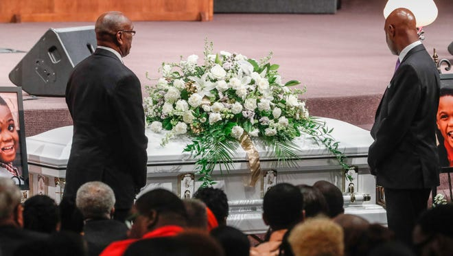 """Family and friends mourn the loss of five members of the Coleman family who died in a duck boat accident on Table Rock Lake near Branson Missouri, during funeral services at Eastern Star Church, 5805 Cooper Road, in Indianapolis Ind., on Saturday, July 28, 2018. In all 9 members of the Coleman family were killed in the tragedy which took place on July 19. Saturdays service remembered Horace """"Butch"""" Coleman, 70, and his wife, Belinda """"Toni,"""" Rose Coleman, 69, Horace's brother, Irvin """"Ray,"""" Coleman, 76, Horace's daughter, Angela """"Angee"""" Fay Coleman, 45, and Angela's son Maxwell Bayla Ly, 2."""