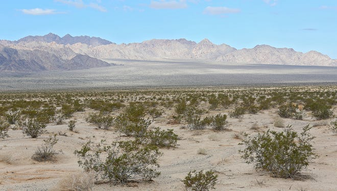 Vast stretches of open land in the Mojave Desert, within the Desert Renewable Energy Conservation Plan area, seen on Oct. 8, 2014.