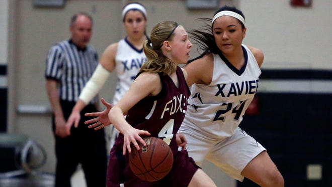 Xavier's Peyton Ufi (right), defends FVL's Jenna Bruss during a WIAA Division 3 girls' basketball regional final Feb. 28.