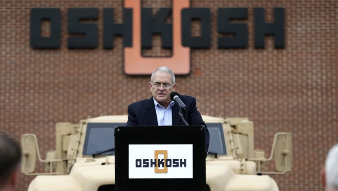 John Urias, the president of Oshkosh Corporation's Defense division, speaks during a press conference to announce that the United States' Army has awarded Oshkosh Defense a $6.7 billion contract to build the Humvee's replacement, Oshkosh Corp's Joint Light Tactical Vehicle, or JLTV.