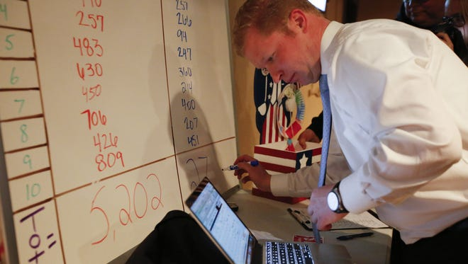 Newly re-elected Mayor Justin Nickels writes the voter tallies on a whiteboard at his election party at the Fat Seagull Tuesday.
