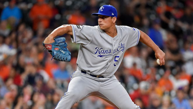 Kansas City Royals starting pitcher Jason Vargas delivers during the second inning of the team's baseball game against the Houston Astros on Friday in Houston.