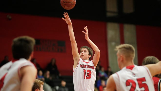Manitowoc Lincoln's Josh Hoffman (13) shoots against Pulaski in an FRCC boys basketball game at Manitowoc Lincoln High School on Friday, February 2, 2018 in Manitowoc, Wis.Adam Wesley/USA TODAY NETWORK-Wisconsin