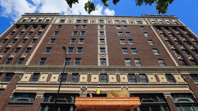 Work continues on the main entrance of the Hotel Northland on Wednesday, July 18, 2018 in Green Bay, Wis. Adam Wesley/USA TODAY NETWORK-Wisconsin