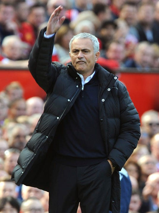 Manchester United manager Jose Mourinho reacts during the English Premier League soccer match between Manchester United and Stoke City at Old Trafford in Manchester, England, Sunday, Oct. 2, 2016. (AP Photo/Rui Vieira)
