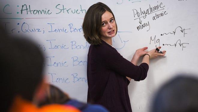 Chemistry teacher Lauren Cooney teaches eighth grade chemistry at Basis Scottsdale school in October 2015.