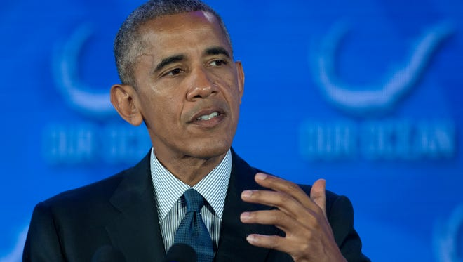 President Obama speaks at a State Department oceans conference last week.
