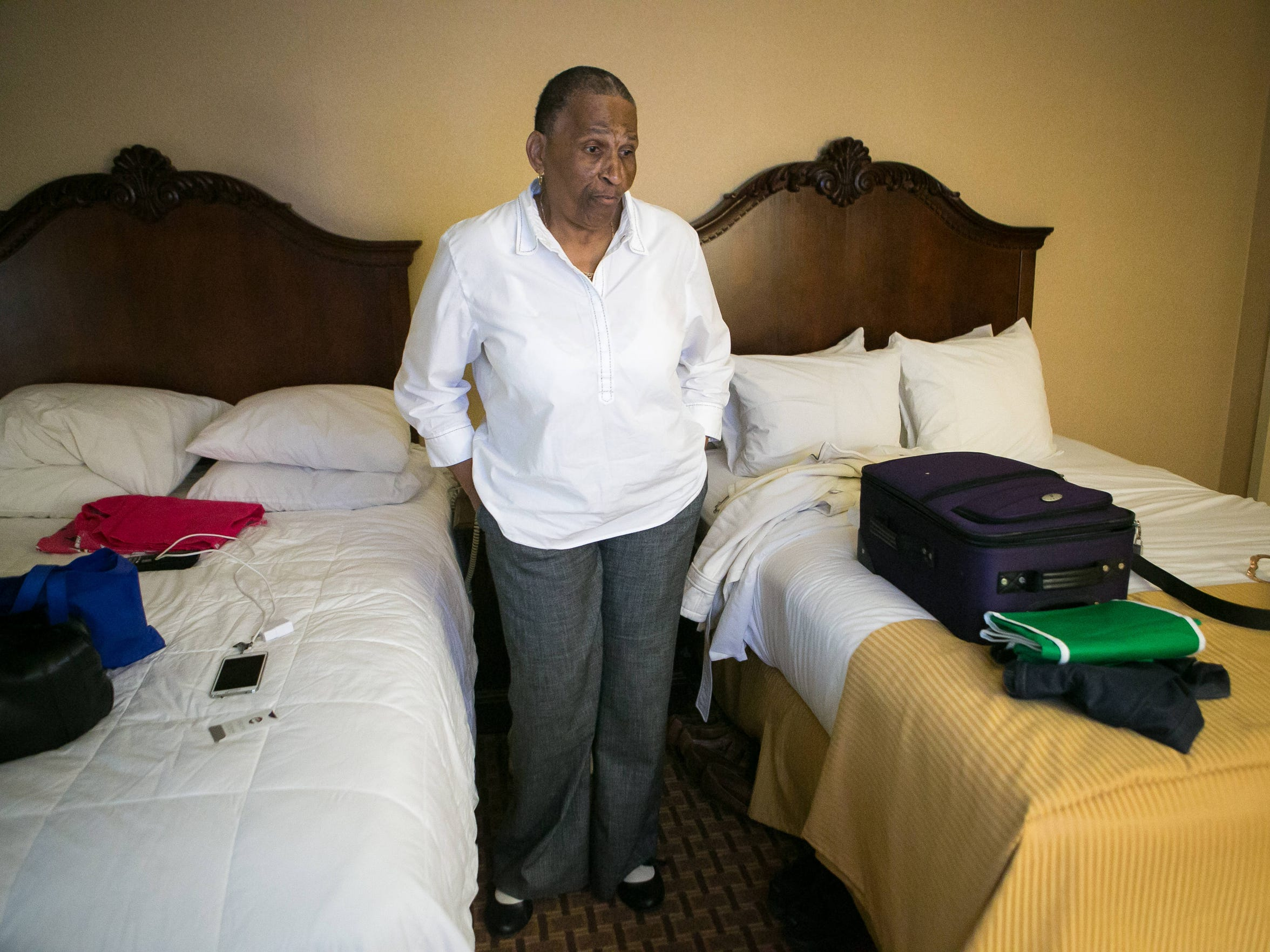 Mary Douglas-Bailey, who used to live at Evergreen Apartments at Riverside Heights near Elsmere, now has been living at Clarion Hotel in New Castle since March 26 when she was evicted from her apartment with other residents due to carbon monoxide that killed four residents.