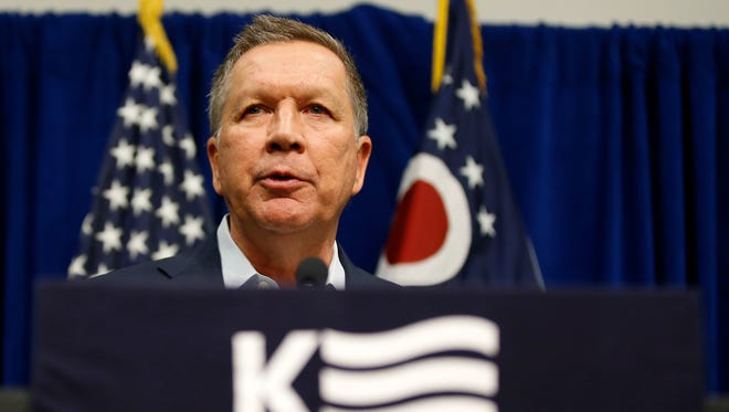 GOP Presidential candidate and Ohio Gov. John Kasich addresses the crowd during the pancake breakfast of the Northeast Hamilton County Republican Club, Saturday, March 12, 2016, at the Sharonville Convention Center in Sharonville.