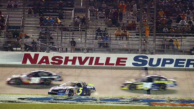 Kyle Busch (5) spins down the frontstretch at Nashville Superspeedway during a June 2004 Busch Series race.