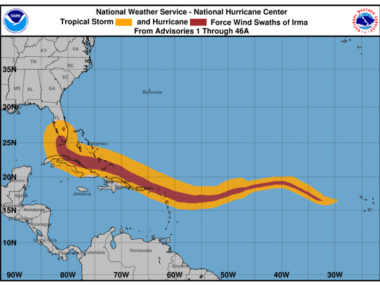 The National Hurricane Center plotted Irma's wind strengths