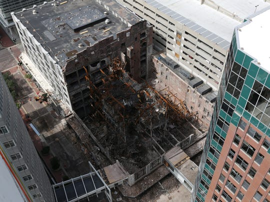 The remains of the Younkers building can be seen from above during the annual Over the Edge fundraiser at the Financial Building in Des Moines in mid-September.