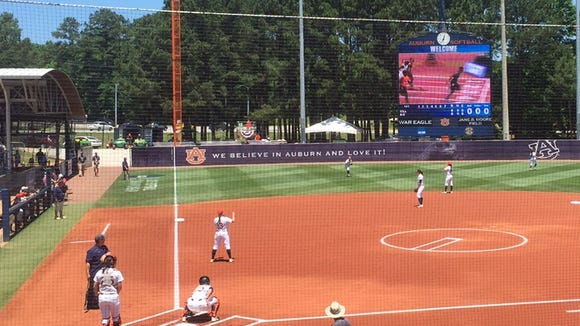 Auburn warms up prior to Friday's NCAA Super Regional game.