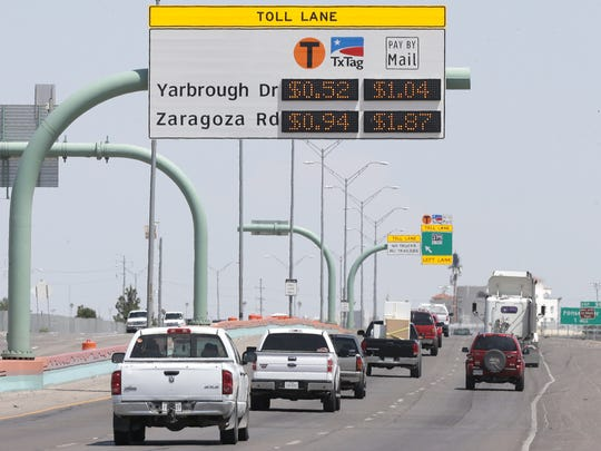 Motorists travel along the Cesar Chavez Border Highway near Yarbrough Drive.