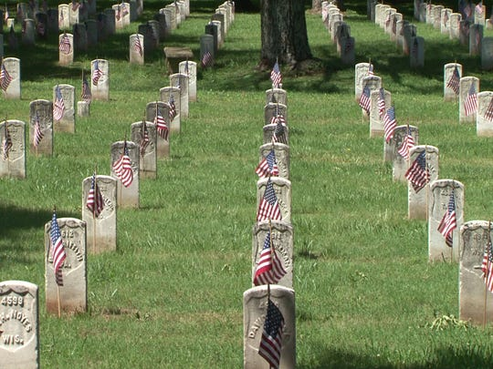 Small flags decorate the graves at the Stones River National Battlefield in Murfreesboro. The cemetery includes those who served in the United States military during the Civil War.