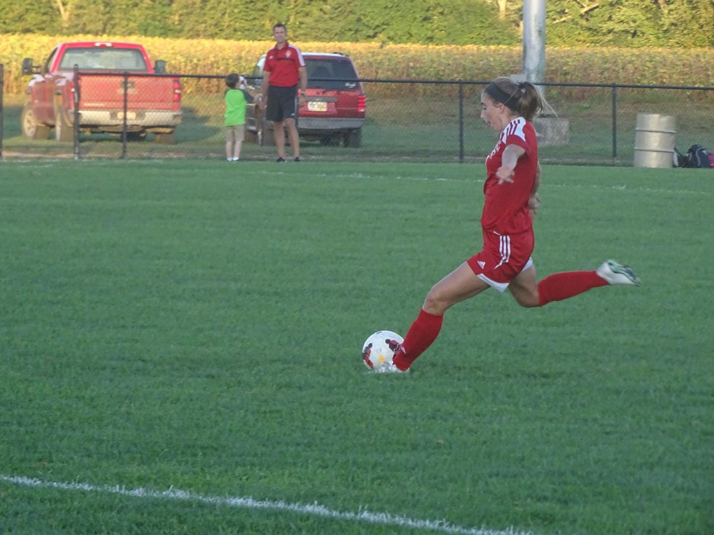Samantha Swackhammer winds up for a shot on goal in the first half of Thursday's game.