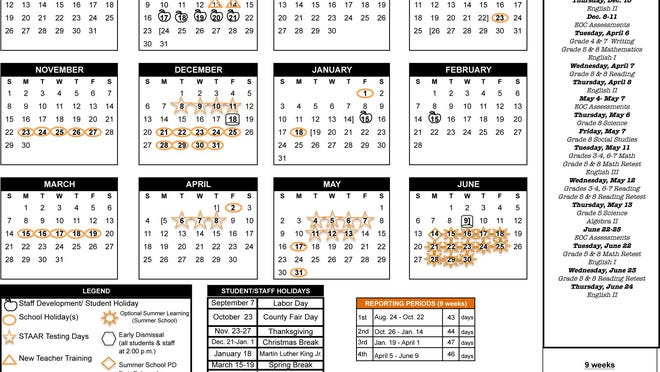 Calendar for the Alice ISD 2020-2021 school year