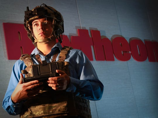 Systems engineer Chris Nord is outfitted in a wearable situational awareness ensemble at Raytheon in Dayton, Ohio, on Oct. 9. The Air Force Research Laboratory and the Department of Defense are driving demand for wearable technology on the battlefield.