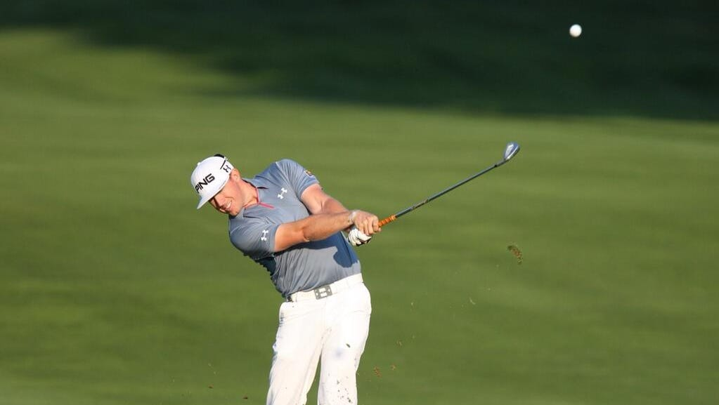 Hunter Mahan drives the ball during a practice round Wednesday.