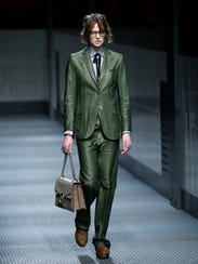 A model wears a creation for Gucci women's Fall-Winter