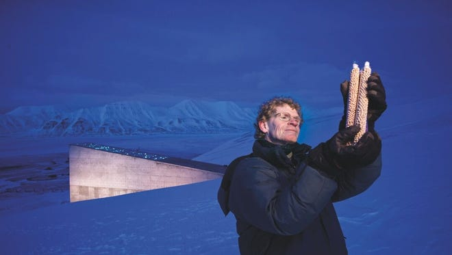 "Built into a frozen mountain slope on a Norwegian island, the Global Seed Vault looks  like a triangle in the distance behind its ""father,"" Memphis-born Cary Fowler."