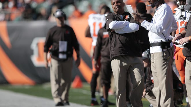 Cleveland Browns head coach Hue Jackson paces the sideline in the fourth quarter during the NFL Week 7 football game between the Cleveland Browns and the Cincinnati Bengals, Sunday, Oct. 23, 2016, at Paul Brown Stadium in Cincinnati. Cincinnati won 31-17.