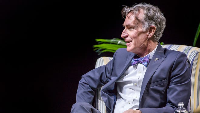 Bill Nye speaks during a moderated discussion with University of Delaware professor McKay Jenkins at the Bob Carpenter Center in Newark on Tuesday night.