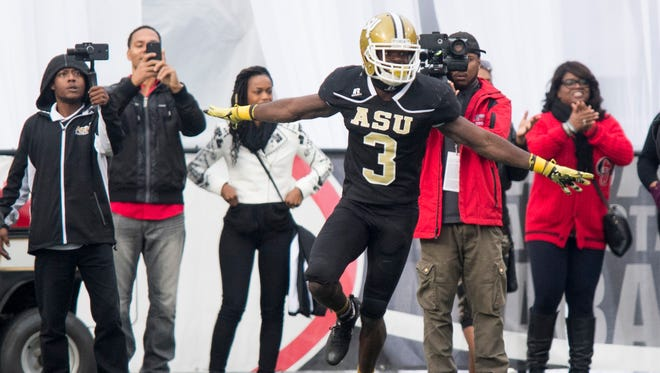 Alabama State cornerback Dennis Roberts IV celebrates breaking up[ a pass in the end zone to stop a Alabama A&M drive during the Magic City Classic at Legion Field in Birmingham, Ala. on Saturday October 27, 2017.