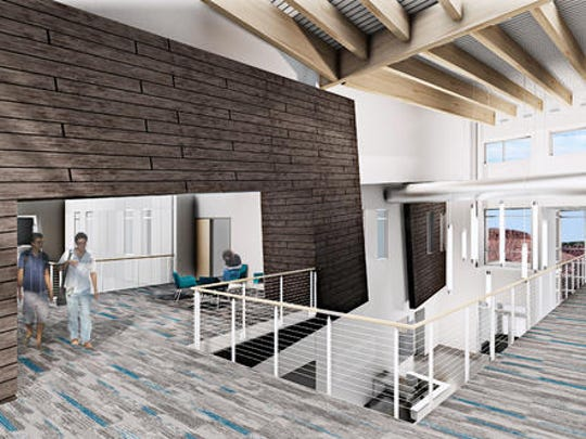 A rendering of the new Rocky Vista University campus shows the northwest lobby in the state-of-the-art medical school.
