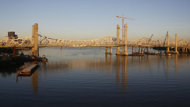 Progress continued in September on a new downtown bridge over the Ohio River in Louisville, Ky.
