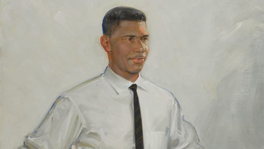 Medgar Evers, captured in this painting by Jason Bouldin,