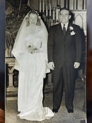 Jim and Peggy Fegan are seen in a wedding portrait,