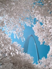 On a month-long road trip devoted to infrared photography del Tufo and his family crossed the country looking for thoroughly documented landmarks they could show in a different light. On August 10, 2010 del Tufo finally made an image he was happy with of the St. Louis arch.