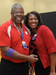 Dr Hallie Gregory (left) and Health Fair Coordinator Aves Ruffin-Justis smile during the Blood Drive and Health Fair held at Holly Grove Christian School in Westover.