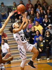 Jasmine Turner goes in for a layup during the Lebanon