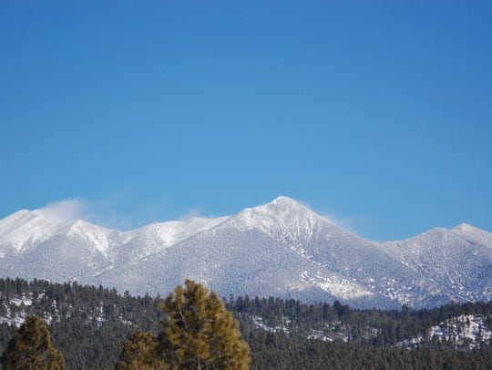 This photo shows the San Francisco Peaks near Flagstaff