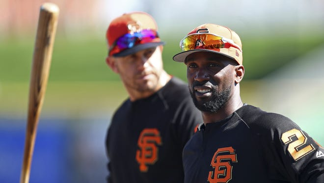 Evan Longoria, left, and Andrew McCutchen are two of the new faces on the Giants.
