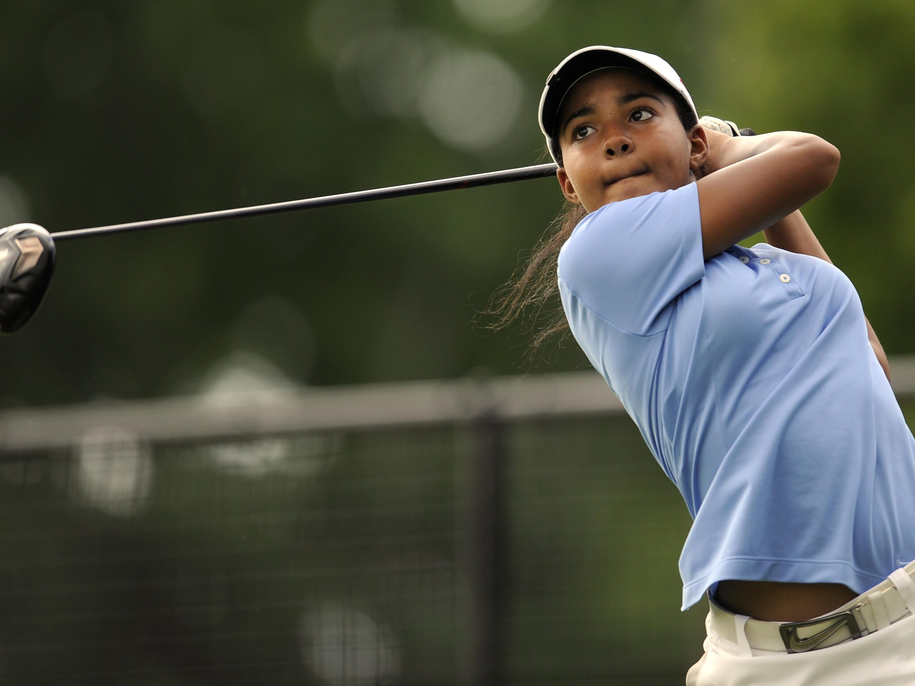 Mariah Smith, of Clarksville High, watches her drive off of the 18th tee during her match in the Schooldays Tournament in Nashville a few years ago. Smith has qualified to compete in the U.S. Girls Junior Championships next week.