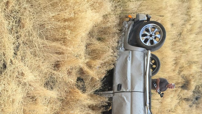 A photo of the vehicle that rolled off Goni Canyon and killed two people and injured one early Monday.