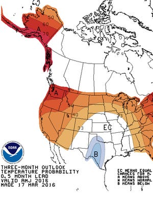 The Climate Prediction Center expects above-average temperatures the next three months in Southeast Michigan.