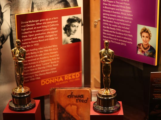 Two Academy Awards won by Iowans Donna Reed and Cloris Leachman are seen at the Hollywood in the Heartland exhibit at the State Historical Museum on Thursday, June 26, 2014, in Des Moines, Iowa.