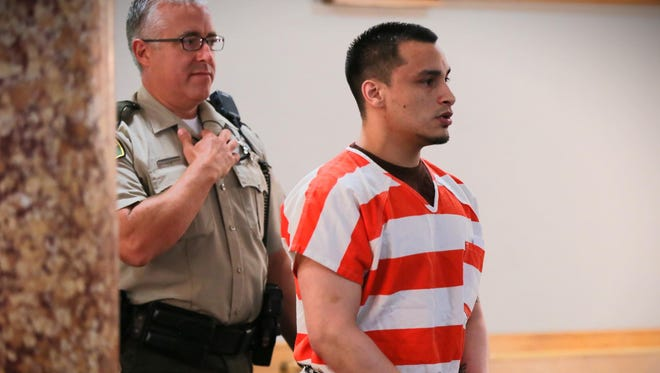 Joe Anthony Lopez, a Clive man who's accused of killing his girlfriend's infant child and was convicted of 1st degree murder at a May trial, is sentenced Friday Aug. 26, 2016.