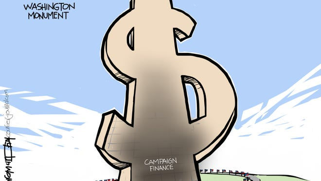 In this cartoon by Marc Murphy, the Washington Monument has received a makeover to turn it into a dollar sign, following the Supreme Court's decision to removed the limits on campaign contributions.