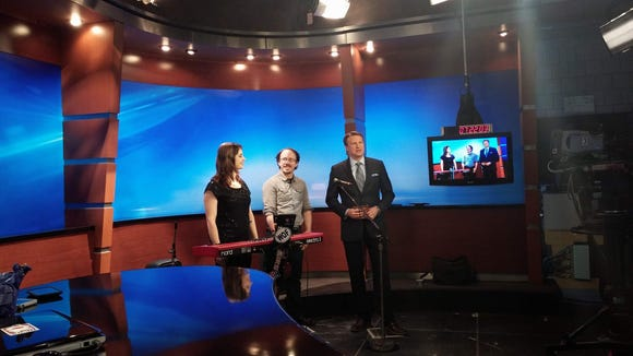 Channel 10 anchor Scott Kilbury interviews Sarah and Sean before their performance.