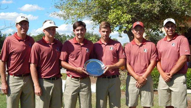 The Florida State men's golf team, seen here after winning the Florida Gulf Coast Classic.