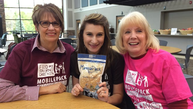 From left to right, Karen Leaf, Kayla Wooster and Donna Alberta of Cornerstone Evangelical Presbyterian Church.