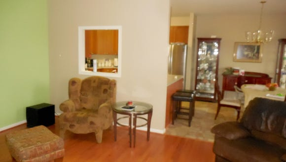 A view of the family room before a makeover.