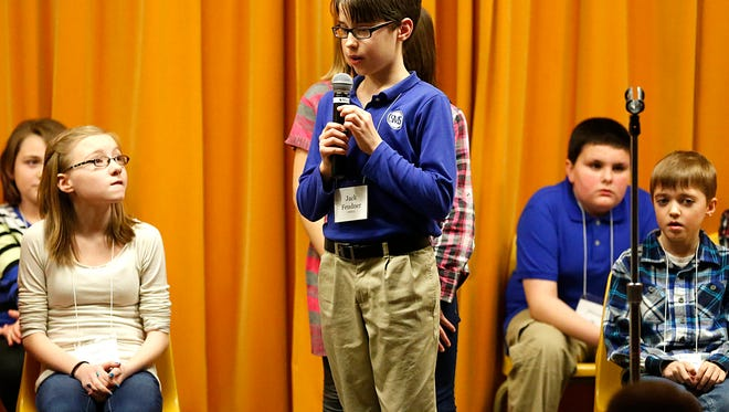 St. Mary's Springs Academy fifth-grader Jack Feudner spelled broccoli correctly to win the 40th annual Fond du Lac City Spelling Bee Thursday night, Jan. 28. The event was held at Theisen Middle School.