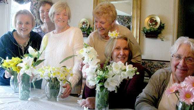 The Ways and Means Committee of the Friendship Club gets items ready for the Spring Luncheon and Tea. Pictured, from left, are: Kathleen Kuniega, Mariyann Zelinski, Sylvia McNee, Mary Dee Harris, Charlotte Mayne, and Marcie Ziegler (chairperson).