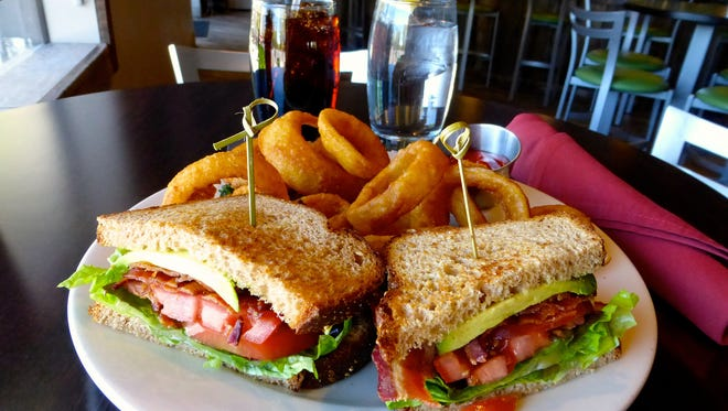 The double applewood bacon, avocado, lettuce and tomato sandwich at Kicks on Route 66.